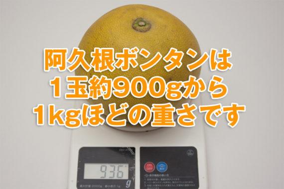 阿久根ボンタンの重さを表示