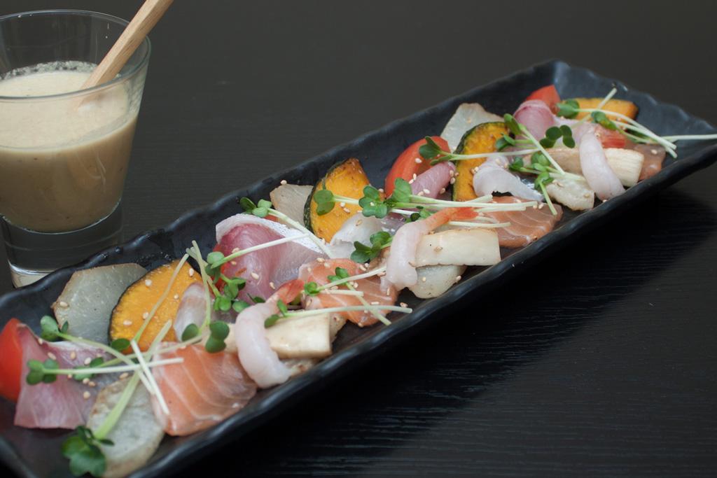 遠賀産焼き野菜と鮮魚のカルパッチョ
